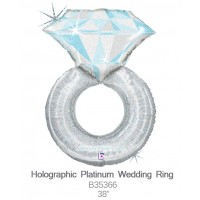 Holographic Platinum Wedding Ring b35366