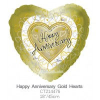 Happy Anniversary Gold Hearts