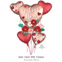 Satin Heart With Flowers 39016