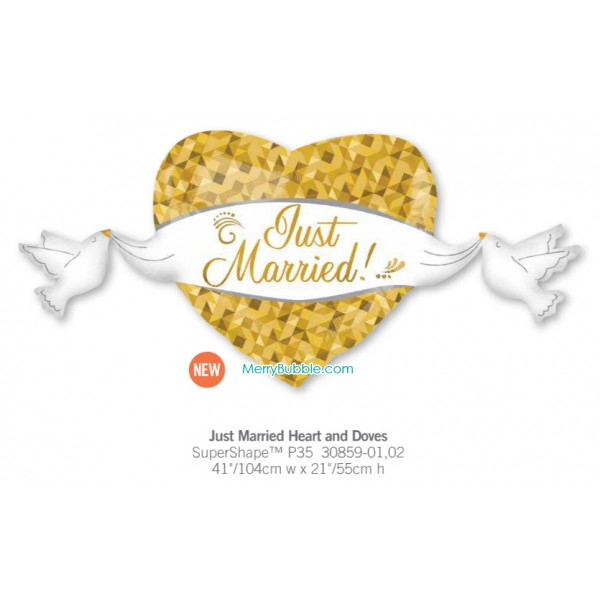 Just Married Heart and Doves
