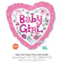 Baby Girl Heart Floral with Ruffle
